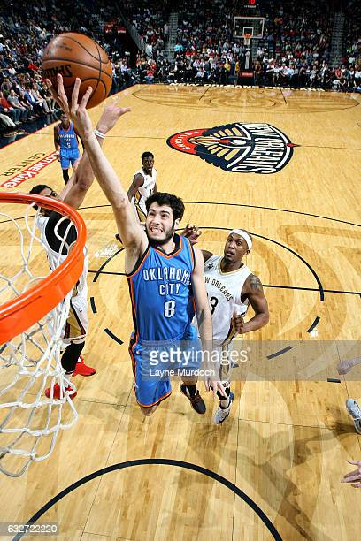 Alex Abrines of the Oklahoma City Thunder shoots a lay up during the game against the New Orleans Pelicans on January 25 2017 at the Smoothie King...