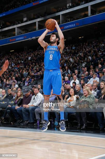 Alex Abrines of the Oklahoma City Thunder shoots a three pointer against the Sacramento Kings on February 22 2018 at Golden 1 Center in Sacramento...