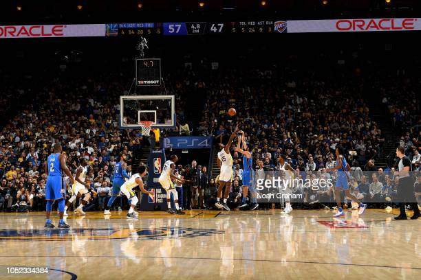 Alex Abrines of the Oklahoma City Thunder shoots the ball against the Golden State Warriors during a game on October 16 2018 at Oracle Arena in...