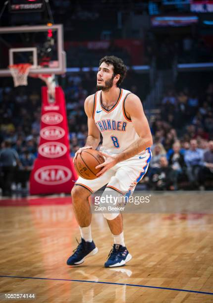 Alex Abrines of the Oklahoma City Thunder shoots the ball against the LA Clippers on October 19 2018 at STAPLES Center in Los Angeles California NOTE...