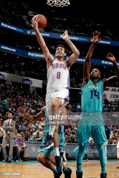Alex Abrines of the Oklahoma City Thunder shoots the ball against the Charlotte Hornets on November 1 2018 at Spectrum Center in Charlotte North...
