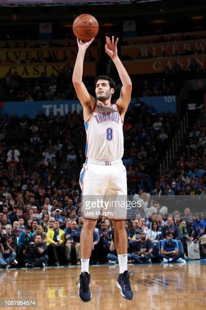 Alex Abrines of the Oklahoma City Thunder shoots the ball against the New Orleans Pelicans on November 5 2018 at Chesapeake Energy Arena in Oklahoma...