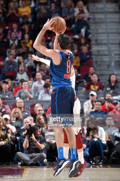 Alex Abrines of the Oklahoma City Thunder shoots the ball against the Cleveland Cavaliers on November 7 2018 at Quicken Loans Arena in Cleveland Ohio...