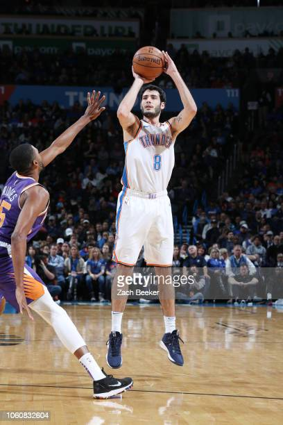Alex Abrines of the Oklahoma City Thunder shoots the ball against the Phoenix Suns on November 12 2018 at Chesapeake Energy Arena in Oklahoma City...