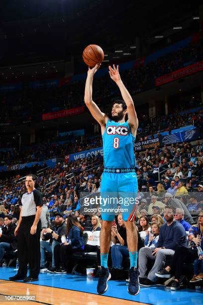 Alex Abrines of the Oklahoma City Thunder shoots the ball against the Atlanta Hawks on November 30 2018 at Chesapeake Energy Arena in Oklahoma City...