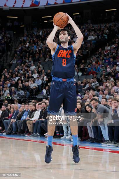 Alex Abrines of the Oklahoma City Thunder shoots the ball against the Sacramento Kings on December 19 2018 at Golden 1 Center in Sacramento...