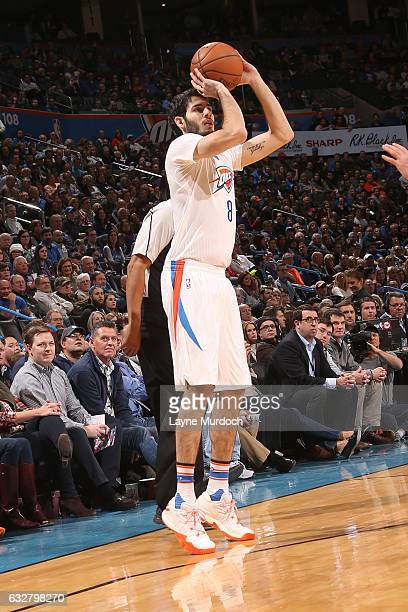 Alex Abrines of the Oklahoma City Thunder shoots the ball against the Dallas Mavericks on January 26 2017 at Chesapeake Energy Arena in Oklahoma City...