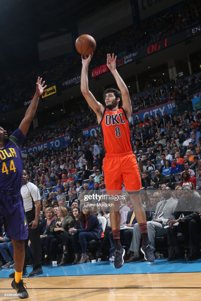 Alex Abrines #8 of the Oklahoma City Thunder shoots the ball against the New Orleans Pelicans on February 26, 2017 at the Chesapeake Energy Arena in Oklahoma City, Oklahoma.