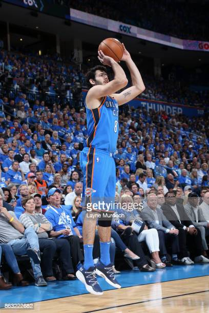 Alex Abrines of the Oklahoma City Thunder shoots the ball against the New York Knicks on October 19 2017 at Chesapeake Energy Arena in Oklahoma City...