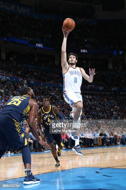 Alex Abrines of the Oklahoma City Thunder shoots the ball against the Indiana Pacers on October 25 2017 at Chesapeake Energy Arena in Oklahoma City...