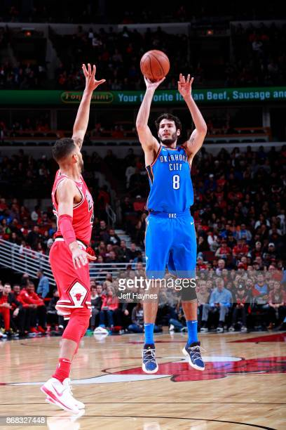 Alex Abrines of the Oklahoma City Thunder shoots the ball against the Chicago Bulls on October 28 2017 at the United Center in Chicago Illinois NOTE...