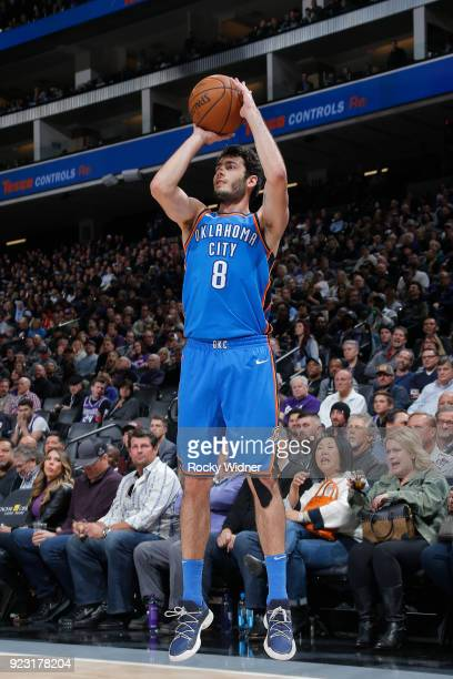 Alex Abrines of the Oklahoma City Thunder shoots the ball against the Sacramento Kings on February 22 2018 at Golden 1 Center in Sacramento...