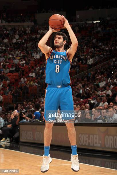 Alex Abrines of the Oklahoma City Thunder shoots the ball against the Miami Heat on April 9 2018 at American Airlines Arena in Miami Florida NOTE TO...