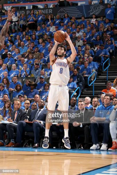 Alex Abrines of the Oklahoma City Thunder shoots the ball against the Utah Jazz during Game One of Round One of the 2018 NBA Playoffs on April 15...