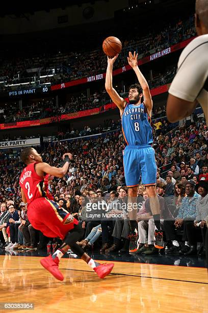 Alex Abrines of the Oklahoma City Thunder shoots the ball during the game against the New Orleans Pelicans on December 21 2016 at the Smoothie King...