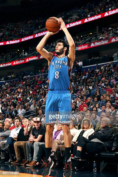 Alex Abrines of the Oklahoma City Thunder shoots the ball during the game against the New Orleans Pelicans on January 25 2017 at the Smoothie King...