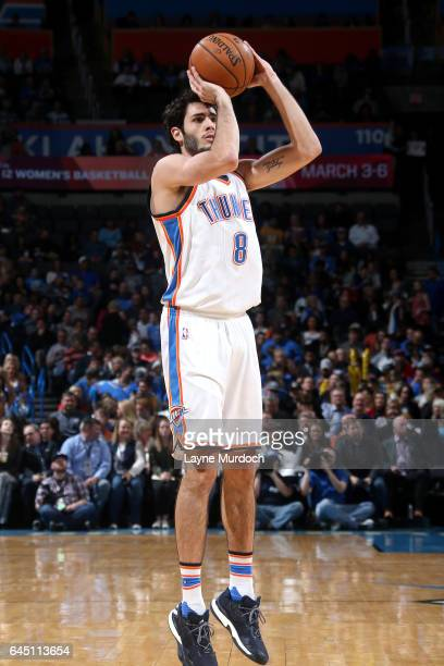 Alex Abrines of the Oklahoma City Thunder shoots the ball during the game against the Los Angeles Lakers on February 24 2017 at Chesapeake Energy...