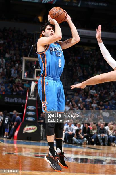 Alex Abrines of the Oklahoma City Thunder shoots the ball during the game against the Minnesota Timberwolves on April 11 2017 at Target Center in...
