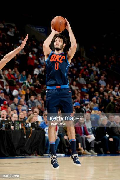 Alex Abrines of the Oklahoma City Thunder shoots the ball during the game against the Philadelphia 76ers on December 15 2017 at the Wells Fargo...