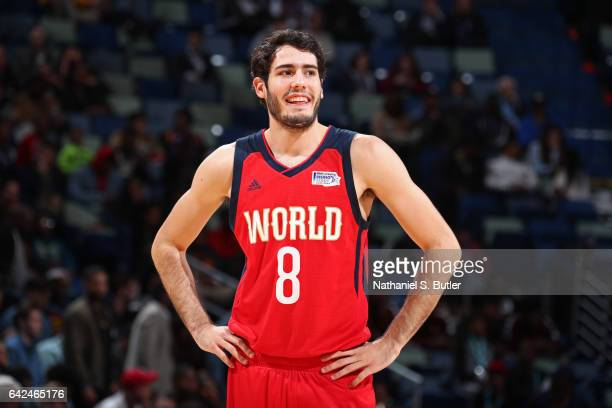 Alex Abrines of the World Team smiles and looks on during the BBVA Compass Rising Stars Challenge as part of 2017 AllStar Weekend at the Smoothie...