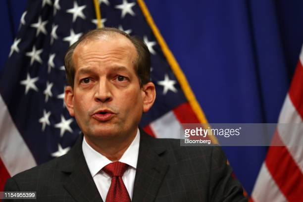 Alex Acosta US Secretary of Labor speaks during a press conference at the Department of Labor in Washington DC US on Wednesday July 10 2019...