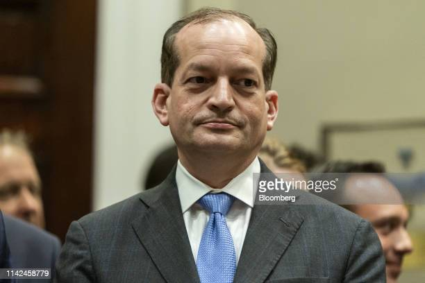 Alex Acosta US Secretary of Labor waits for the arrival of US President Donald Trump during an event on medical pricing in the Roosevelt Room of the...