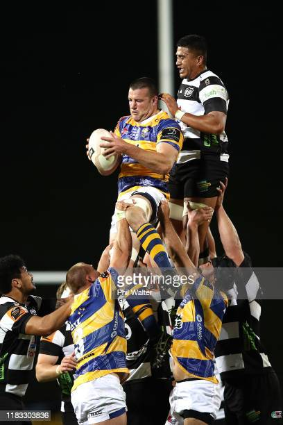 Alex Ainley of Bay of Plenty collects the ball in the lineout during the Mitre 10 Cup Championship Final between Bay of Plenty and Hawke's Bay at...