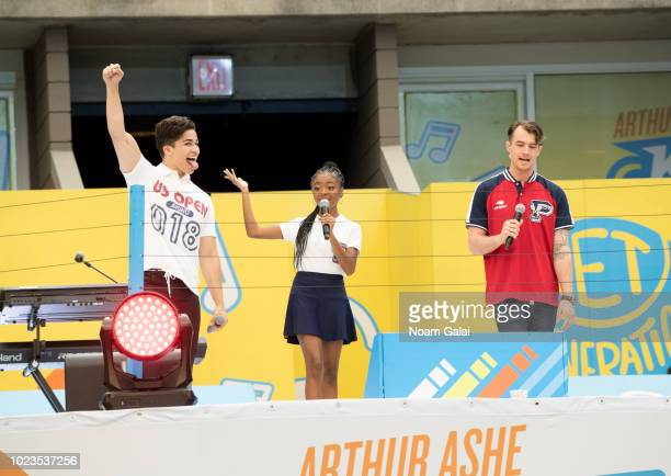 Alex Aiono Skai Jackson and Morgan Tompkins attend the 2018 Arthur Ashe Kids' Day at USTA Billie Jean King National Tennis Center on August 25 2018...