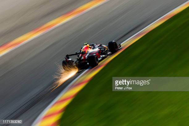 Alex Albon of Red Bull Racing and Thailand during qualifying for the F1 Grand Prix of Belgium at Circuit de Spa-Francorchamps on August 31, 2019 in...