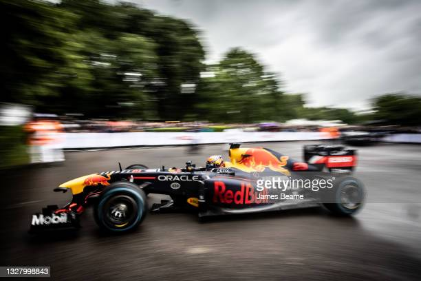 Alex Albon of Thailand and Red Bull Racing drives during the Goodwood Festival of Speed at Goodwood on July 10, 2021 in Chichester, England.
