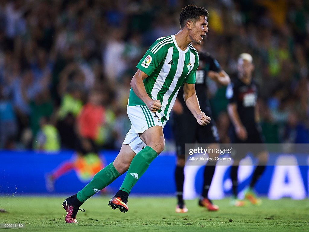Alex Alegria of Real Betis Balompie celebrates after scoring during the match between Real Betis Balompie and Granada CF as part of La Liga at Benito Villamarin stadium on September 16, 2016 in Seville, Spain.