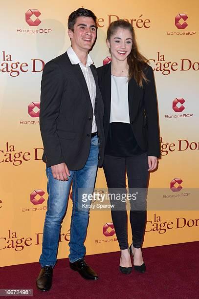 Alex Alves Pereira and Alice Isaaz attend the 'La Cage Doree' Paris Premiere at the Cinema Gaumont Marignan on April 15 2013 in Paris France
