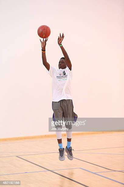 Alex Antetokounmpo goes through some drill during a workout prior to the Basketball Without Boarders program on July 28 2015 at the American...