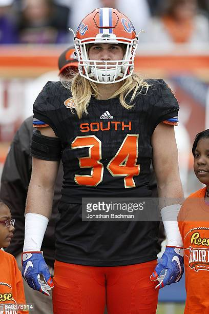 Alex Anzalone of the South team during the Reese's Senior Bowl at the LaddPeebles Stadium on January 28 2017 in Mobile Alabama
