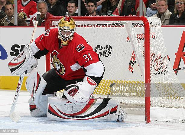 Alex Auld of the Ottawa Senators reacts after a second period goal by the Anaheim Ducks at Scotiabank Place on October 24 2008 in Ottawa Ontario...