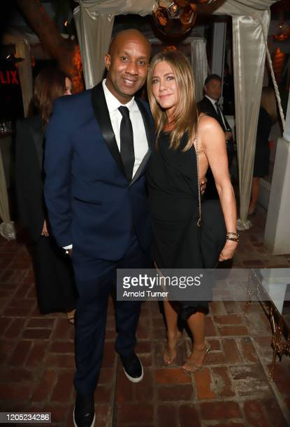 Alex Avant and Jennifer Aniston attends the 2020 Netflix Oscar After Party at San Vicente Bugalows on February 09 2020 in West Hollywood California