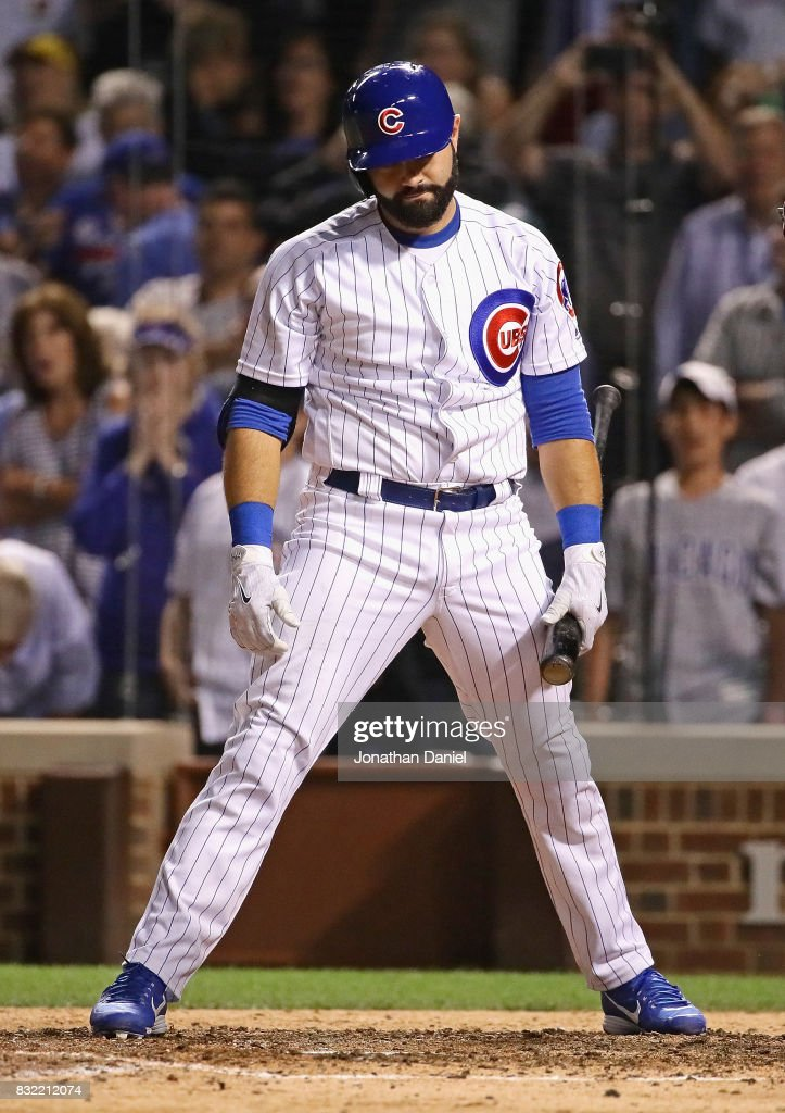 Alex Avila #13 of the Chicago Cubs reacts after strinking out to end the game with men on base against the Cincinnati Reds at Wrigley Field on August 15, 2017 in Chicago, Illinois. The Reds defeated the Cubs 2-1.