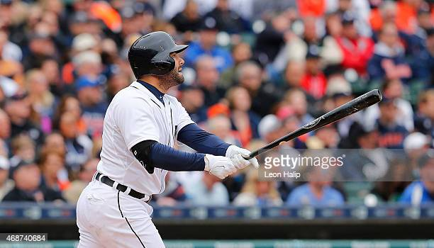 Alex Avila of the Detroit Tigers hits a two run home run to left field scoring Yoenis Cespedes during the second inning of the the Opening Day game...