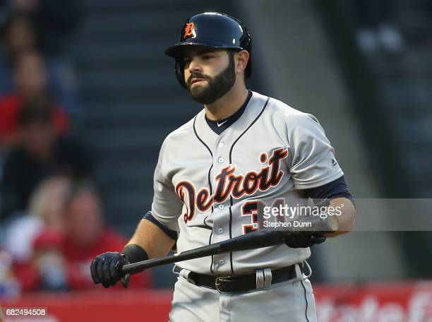 Alex Avila of the Detroit Tigers reacts after striking out with the bases loaded in the second inning against the Los Angeles Angels of Anaheim at...