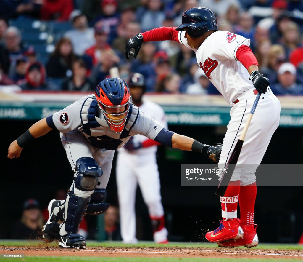 Alex Avila #31 of the Detroit Tigers tags out Jose Ramirez #11 of the Cleveland Indians after dropping a third strike during the second inning at Progressive Field on April 14, 2017 in Cleveland, Ohio. The Tigers defeated the Indians 7-6.