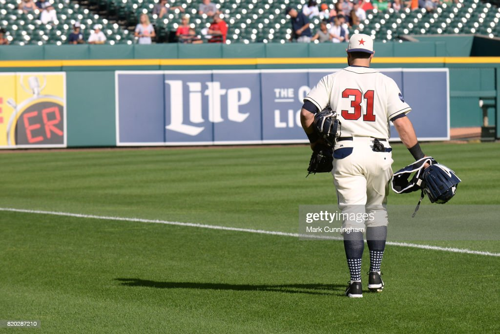 Alex Avila #31 of the Detroit Tigers walks to the bullpen while wearing a Detroit Stars Negro League Tribute uniform prior to game two of a double header against the Cleveland Indians at Comerica Park on July 1, 2017 in Detroit, Michigan. The Indians defeated the Tigers 4-1.