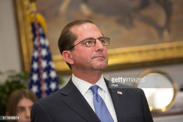 Alex Azar attends his swearing in to become the new Secretary of the Department of Health and Human Services on January 29 2018 at The White House in...