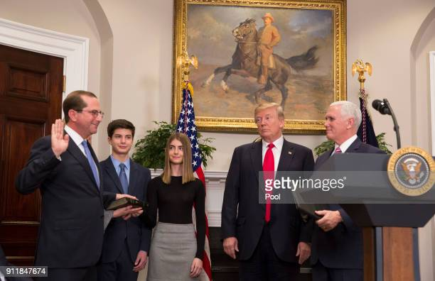 Alex Azar is sworn in as the new Secretary of the Department of Health and Human Services by Vice President Mike Pence as President Donald J Trump...