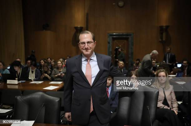 Alex Azar Secretary of Health and Human Services nominee arrives for testimony before the Senate Finance Committee January 9 2018 on Capitol Hill in...