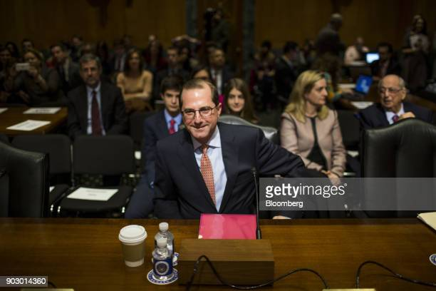 Alex Azar secretary of Health and Human Services nominee for US President Donald Trump arrives for a Senate Finance Committee confirmation hearing in...
