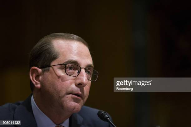 Alex Azar secretary of Health and Human Services nominee for US President Donald Trump speaks during a Senate Finance Committee confirmation hearing...