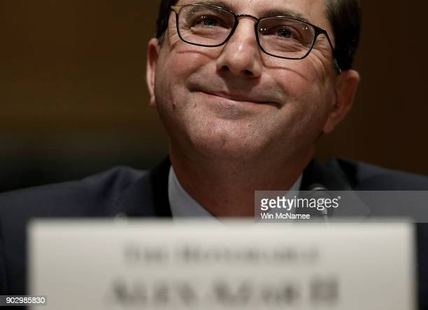 Alex Azar Secretary of Health and Human Services nominee testifies before the Senate Finance Committee January 9 2018 on Capitol Hill in Washington...