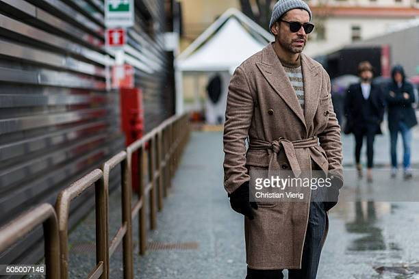Alex Badia during Pitti Uomo 89 on January 14 in Florence Italy