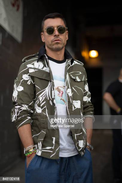 Alex Badia is seen attending Christian Siriano during New York Fashion Week wearing N¡21 Andrea Pompilio on September 9 2017 in New York City