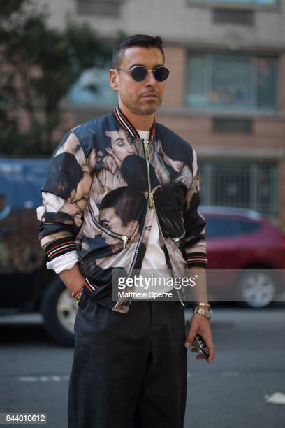 Alex Badia is seen attending Creatures of Comfort during New York Fashion Week wearing a faceprint pattern jacket on September 7 2017 in New York City